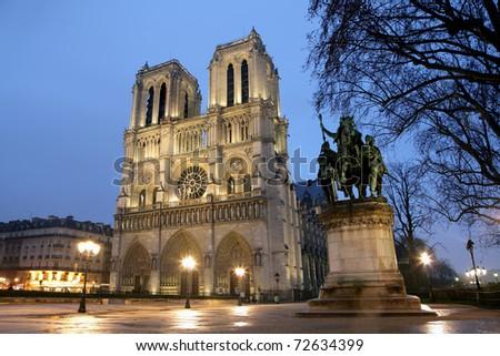 Notre Dame de Paris, France at dusk - stock photo