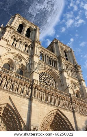 Notre Dame de Paris France under the moon - stock photo