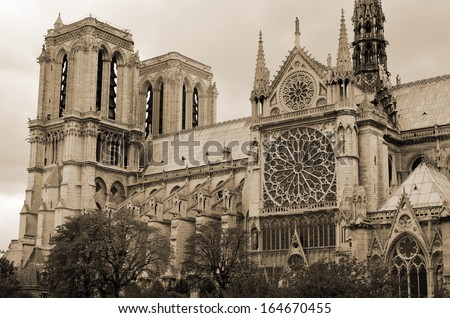 "Notre-Dame de Paris; French for ""Our Lady of Paris"") is a historic Catholic cathedral on the eastern half of the ��le de la Cit�© in the fourth arrondissement of Paris, France. - stock photo"