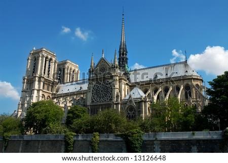 Notre Dame de Paris. Gothic cathedral on the eastern half of the Île de la Cité in Paris, France. - stock photo