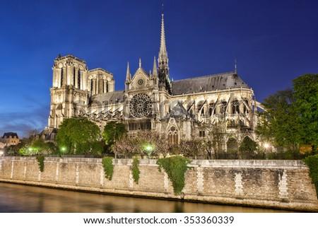 Notre Dame de Paris in  France - stock photo
