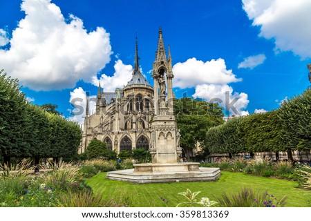 Notre Dame de Paris is the one of the most famous symbols of Paris - stock photo