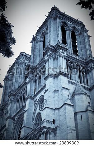Notre Dame de Paris, monochrome. Paris, France. - stock photo