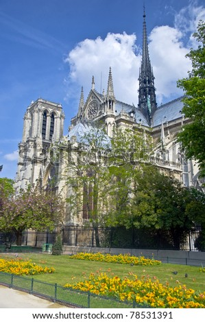 Notre Dame de Paris. The view from the park. Urban scene, Spring. - stock photo