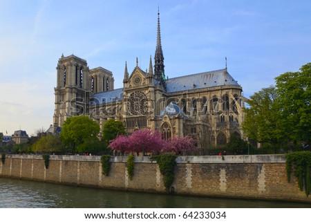 Notre Dame de Paris, view across the Seine River, France - stock photo