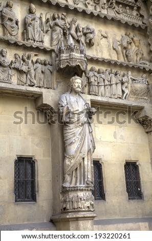 Notre-Dame de Reims Cathedral. Decoration elements. Reims, France - stock photo
