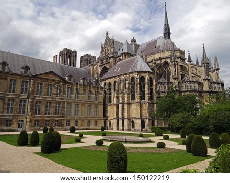 Notre-Dame de Reims - the seat of the Archdiocese of Reims - stock photo