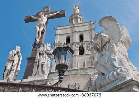 Notre Dame des Doms church located at Avignon, France - stock photo