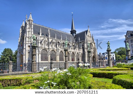 Notre Dame du Sablon's Cathedral in Brussels, Belgium - stock photo