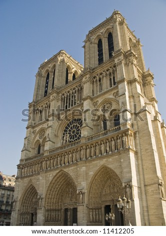 Notre Dame in Paris France with blue sky. - stock photo