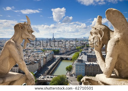 Notre Dame of Paris: Stryge and demon, most famous of all Chimeras, overlooking the skyline of Paris at a summer day (composition) - stock photo