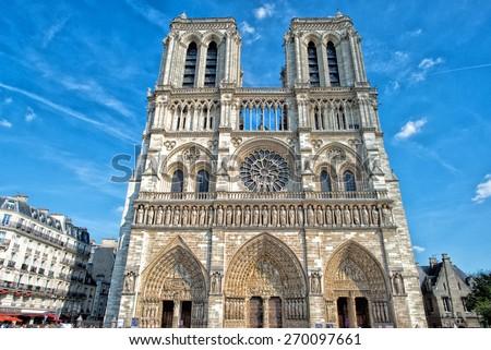 notre dame paris cathedral external detail - stock photo