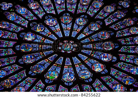 Notre Dame Stained Glass Window - stock photo
