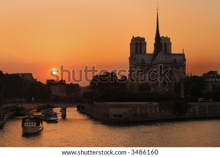 Notre Dame Sunset - stock photo