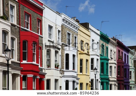 Notting Hill colorful houses at Portobello, west London.