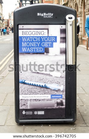 NOTTINGHAM, ENGLAND - MARCH 26: Controversial anti begging adverts by Nottingham City Council (Labour) in conjunction with Nottinghamshire Police. Nottingham, England. On 26th March 2016.