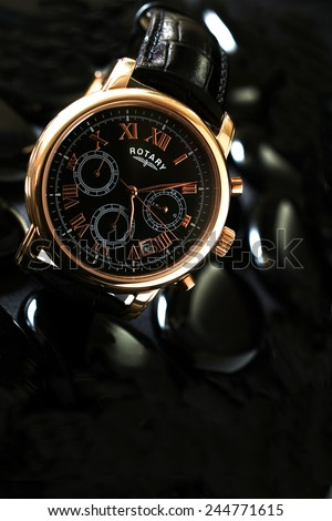 NOTTINGHAM, UK - JANUARY 16, 2015: Rotary Watches Limited was established at La Chaux-de-Fonds, Switzerland, by Moise Dreyfuss in 1895. The UK is one of the company's largest markets in sales terms. - stock photo