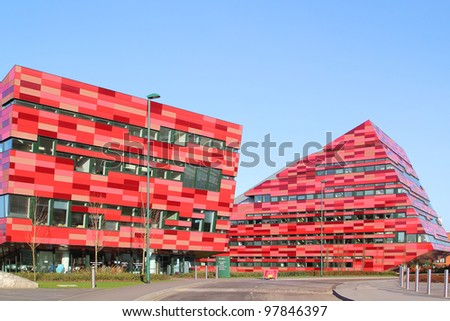 NOTTINGHAM, UK - MARCH 11: The modern purpose -built buildings of the Jubilee Campus, Nottingham University, March 11, 2012. The University is one of the most popular among British applicants in 2011