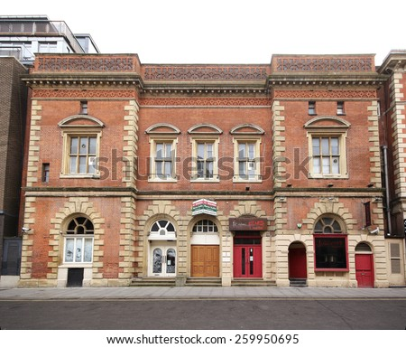 Nottingham, UK - MARCH 8, 2015: Victorian classical building, Nottingham, England, UK. Nottingham is known for its links to the legend of Robin Hood and lace-making, bicycle and tobacco industries. - stock photo