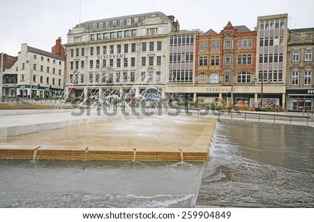 Nottingham, UK - MARCH 8, 2015: View of a department store, Nottingham, England, UK. Nottingham is known for its links to the legend of Robin Hood and lace-making, bicycle and tobacco industries. - stock photo