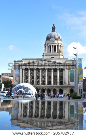 NOTTINGHAM, UK - OCTOBER 14, 2012: Nottingham Council House is the city hall and major landmark of Nottingham.