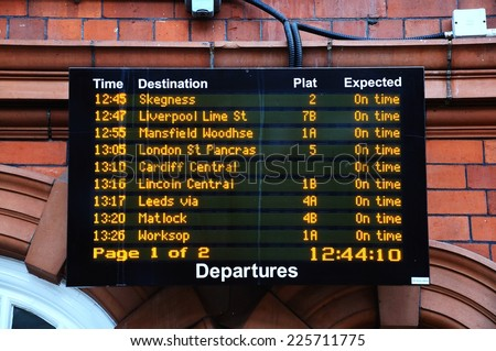 NOTTINGHAM, UNITED KINGDOM - JULY 17, 2014 - Departure board in the Nottingham railway station, Nottingham, Nottinghamshire, England, UK, Western Europe, July 17, 2014.