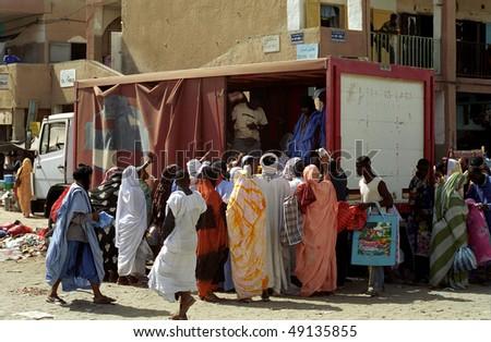 NOUAKCHOTT, MAURITANIA - JAN 5: International aid arrives to the market on January 5, 2006 in Nouakchott, Mauritania. - stock photo