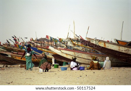NOUAKCHOTT, MAURITANIA - JAN 5: Local women cleans fish at the beach for the daily market to sell them on January 5, 2006 in Nouakchott, Mauritania. - stock photo