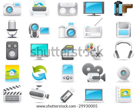 Nouve vector icons. Media and Electronic icon graphics