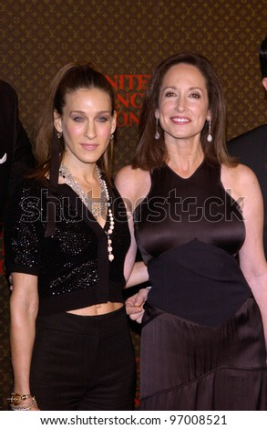 Nov 8, 2004; Los Angeles, CA; Actress SARAH JESSICA PARKER (left) & LILLY TARTIKOFF at the Louis Vuitton United Cancer Front Gala at Universal Studios, California. - stock photo