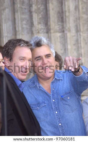 Nov 19, 2004; Los Angeles, CA:  Comedian TIM ALLEN (left) & TV chat show host JAY LENO on Hollywood Boulevard where Allen was honored with the 2,270th star on the Hollywood Walk of Fame. - stock photo