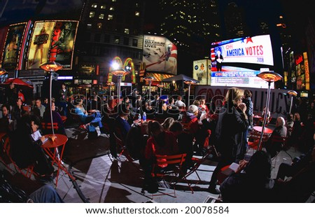Nov 4, 2008 - The Election Night at Times Square in NYC, CNN setup major news event for the election night at the Times Square. The photo is geo-tagged for the location on Google Map. - stock photo