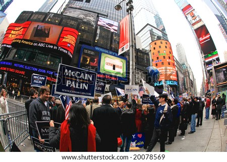 Nov 4, 2008 - The Times Square in NYC, John McCain's supporters gathered at the Times Square at the Election Day. The photo is geo-tagged for the location on Google Map. - stock photo