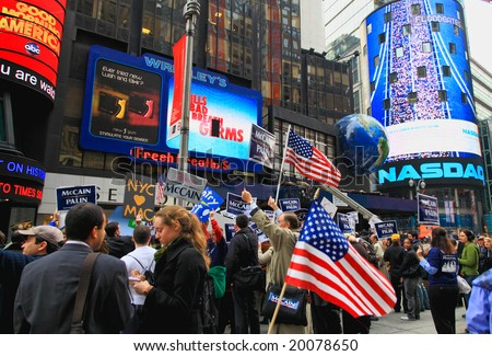 Nov 4, 2008 - The Times Square in NYC, John McCain's supporters gathered at the Times Square at the Election Day - stock photo