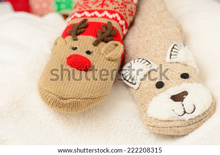 Novelty christmas socks - stock photo
