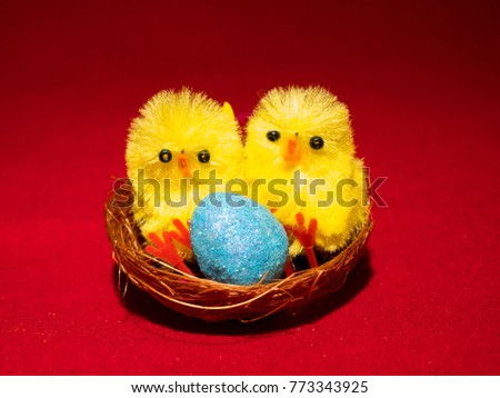 Two novelty easter chicks nest pink stock photo 772248061 novelty toy easter chicks with nests and eggs also represents sex of unborn baby negle Images