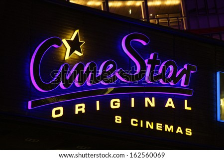 "NOVEMBER 2013 - BERLIN: brands: the logo of the German cinema chain ""Cine Star"", Berlin."