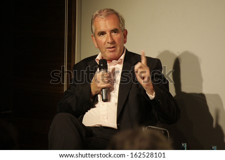 NOVEMBER 11, 2013 - BERLIN: British Beststeller author Robert Harris presents his latest novel in the Kulturkaufhaus Dussmann in Berlin.