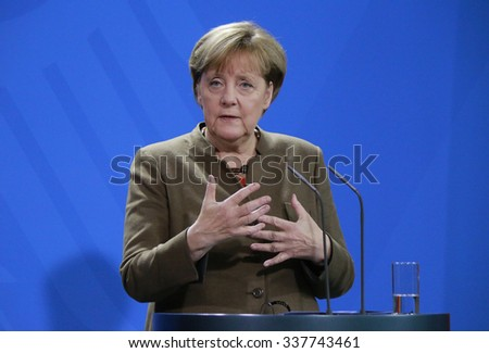 NOVEMBER 10, 2015 - BERLIN: German Chancellor Angela Merkel at a press conference after a meeting with the South African President in the Federal Chanclery in Berlin. - stock photo