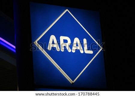 "NOVEMBER 2013 - BERLIN: logo/ electronic sign for ""Aral, Berlin."