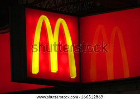 """NOVEMBER 2013 - BERLIN: logo/ electronic sign for the fast food chain """"Mc Donalds"""", Berlin. - stock photo"""