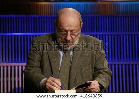 "NOVEMBER 30, 2015 - BERLIN: Umberto Eco before a reading of his latest novel ""Numero Zero"", Haus des Rundfunks. - stock photo"