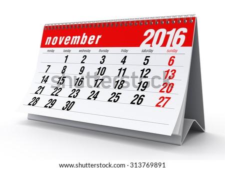 November 2016 Calendar. Isolated on White Background. 3D Rendering - stock photo