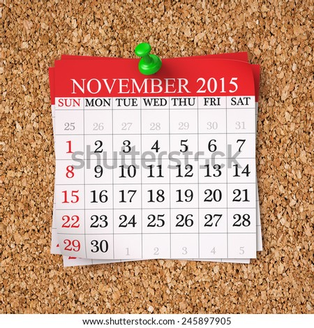 November 2015  Calendar on cork board , 3d render - stock photo