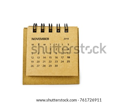 November. Calendar sheet. Two thousand eighteen year calendar on white background.