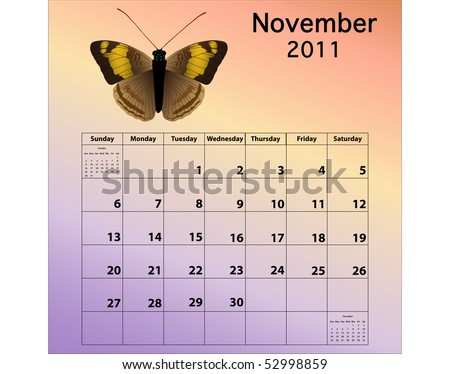 November 2011 calendar with butterfly - stock photo