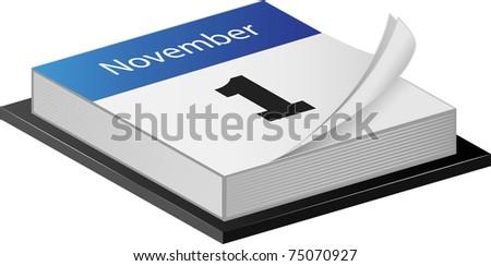 November Calender isolated on white - stock photo