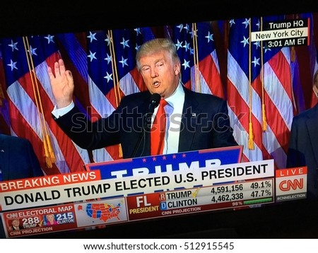 November 9, 2016: CNN television screen shot of  Donald Trump after he was elected the United States president.