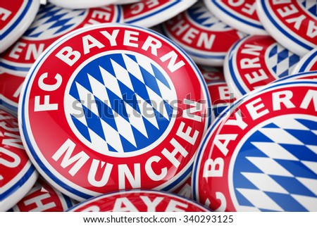 November 7, 2015: 3D illustration of box full of FC Bayern München buttons with shallow depth of field. - stock photo
