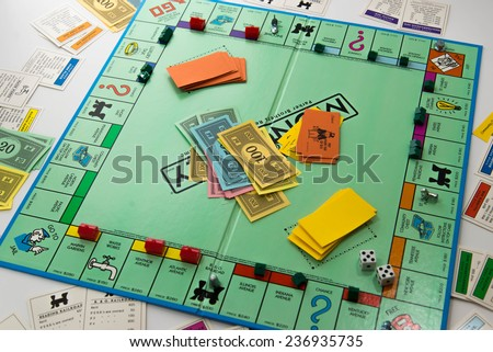November 14, 2014.  Houston, TX, USA.  Monopoly board game - stock photo